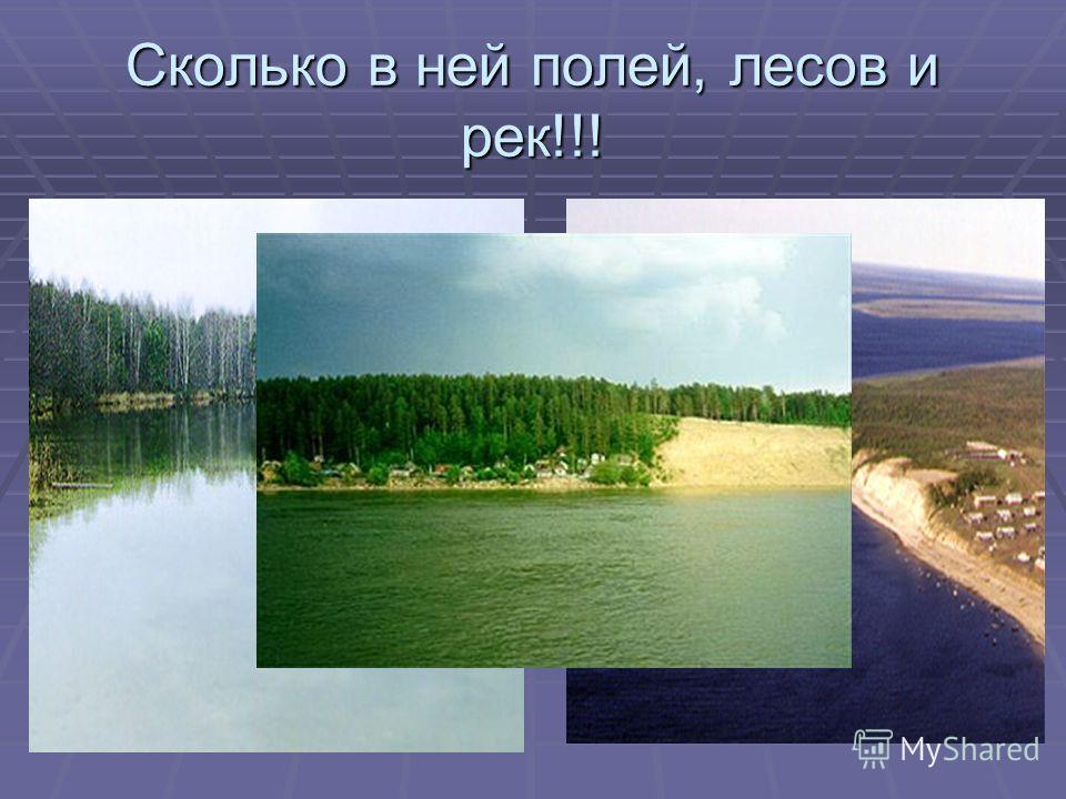 Сколько в ней полей, лесов и рек!!!