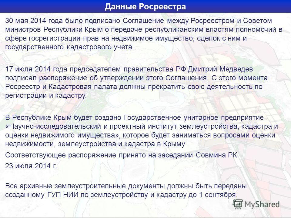 Данные Росреестра 30 мая 2014 года было подписано Соглашение между Росреестром и Советом министров Республики Крым о передаче республиканским властям полномочий в сфере госрегистрации прав на недвижимое имущество, сделок с ним и государственного када