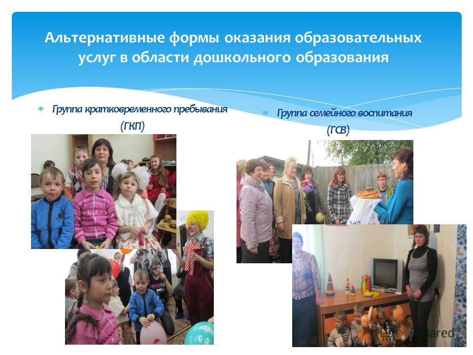 Альтернативные формы оказания образовательных услуг в области дошкольного образования Группа кратковременного пребывания (ГКП) Группа семейного воспитания (ГСВ)