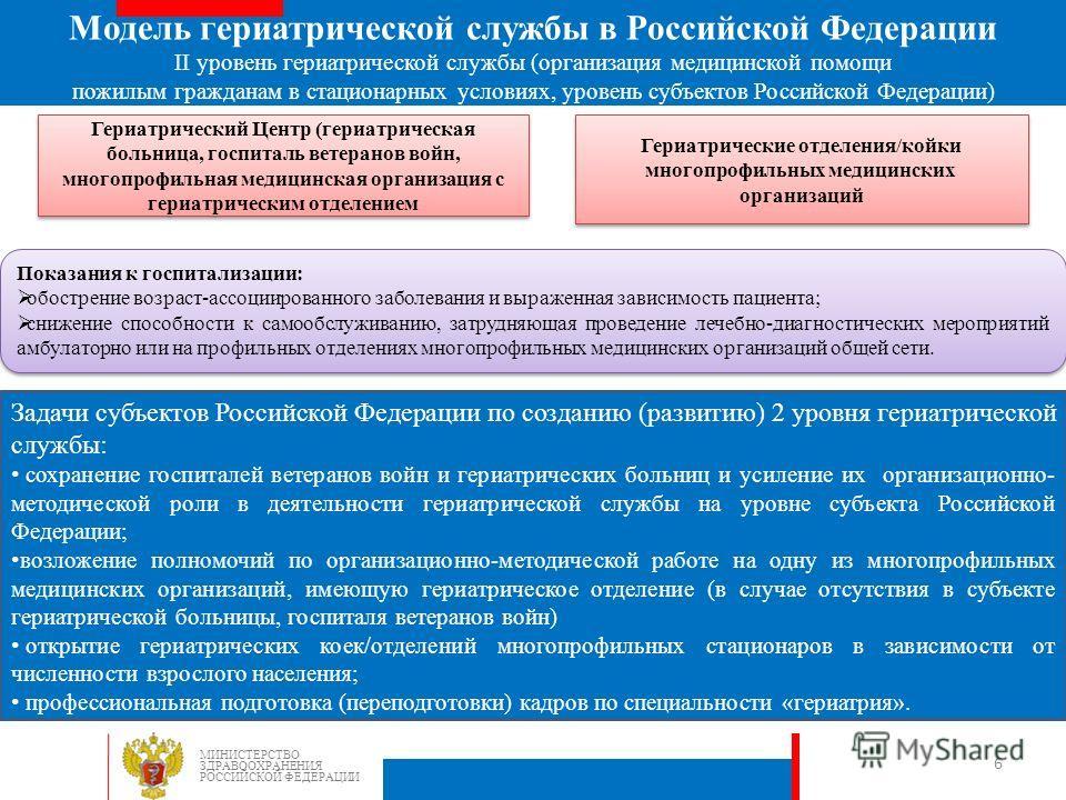 Задачи субъектов Российской Федерации по созданию (развитию) 2 уровня гериатрической службы: сохранение госпиталей ветеранов войн и гериатрических больниц и усиление их организационно- методической роли в деятельности гериатрической службы на уровне