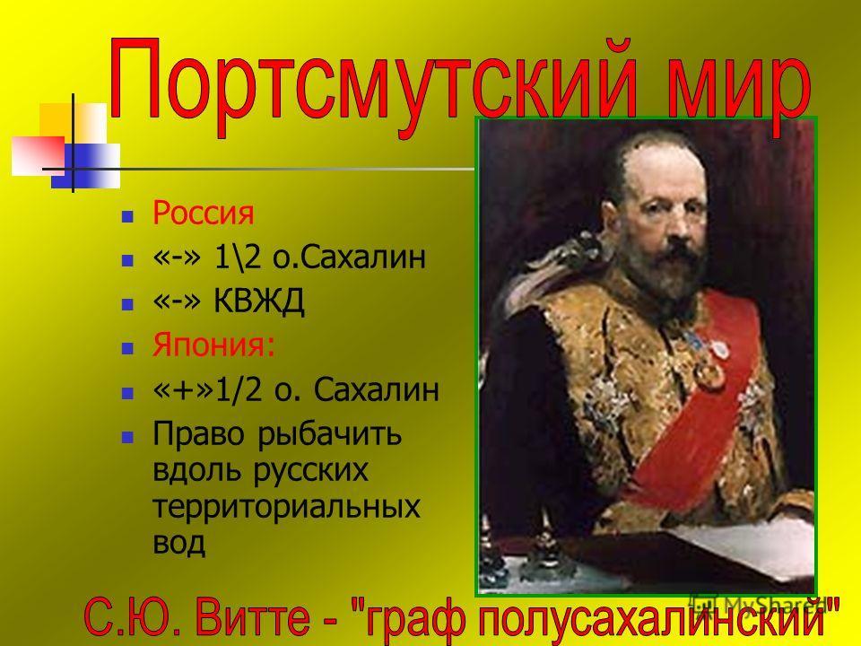 Россия «-» 1\2 о.Сахалин «-» КВЖД Япония: «+»1/2 о. Сахалин Право рыбачить вдоль русских территориальных вод