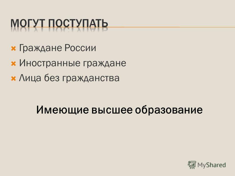 Граждане России Иностранные граждане Лица без гражданства Имеющие высшее образование