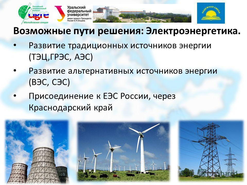 Возможные пути решения: Электроэнергетика. Развитие традиционных источников энергии (ТЭЦ,ГРЭС, АЭС) Развитие альтернативных источников энергии (ВЭС, СЭС) Присоединение к ЕЭС России, через Краснодарский край