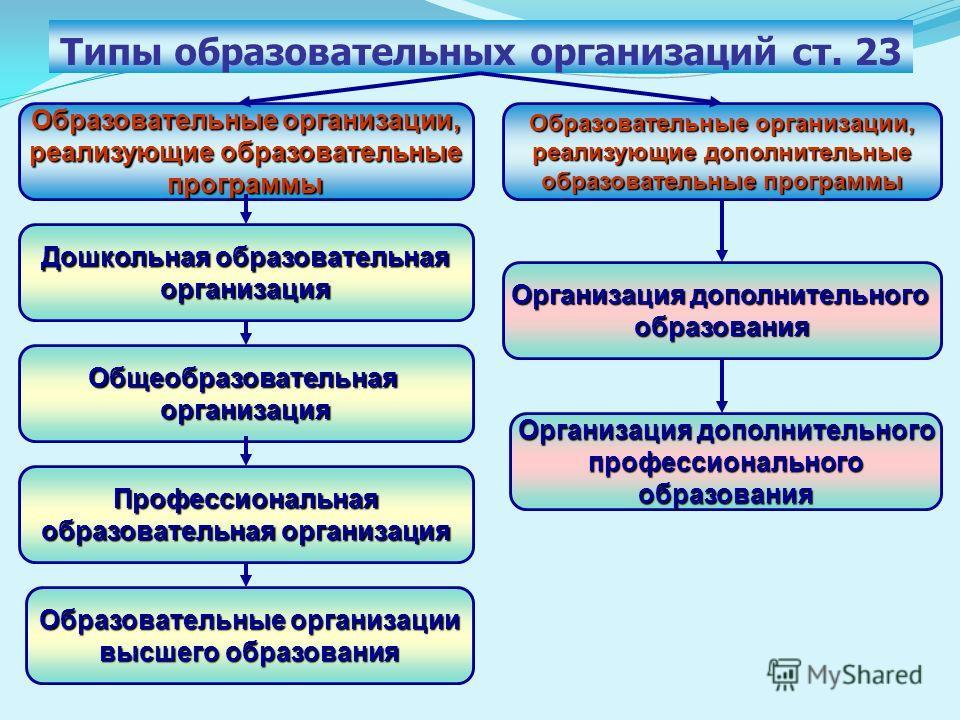 Типы образовательных организаций ст. 23 Образовательные организации, реализующие образовательные программы Образовательные организации, реализующие дополнительные образовательные программы Дошкольная образовательная организация Общеобразовательнаяорг