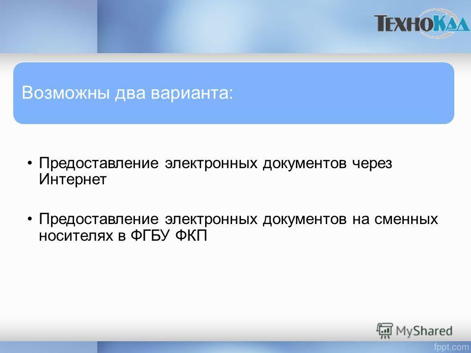Возможны два варианта: Предоставление электронных документов через Интернет Предоставление электронных документов на сменных носителях в ФГБУ ФКП