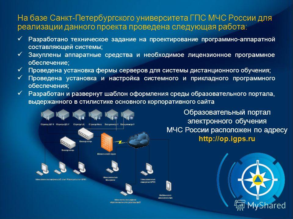 На базе Санкт-Петербургского университета ГПС МЧС России для реализации данного проекта проведена следующая работа: Разработано техническое задание на проектирование программно-аппаратной составляющей системы; Закуплены аппаратные средства и необходи