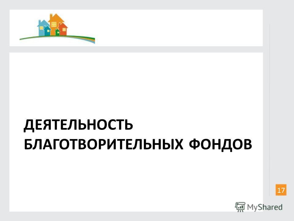 ДЕЯТЕЛЬНОСТЬ БЛАГОТВОРИТЕЛЬНЫХ ФОНДОВ 17
