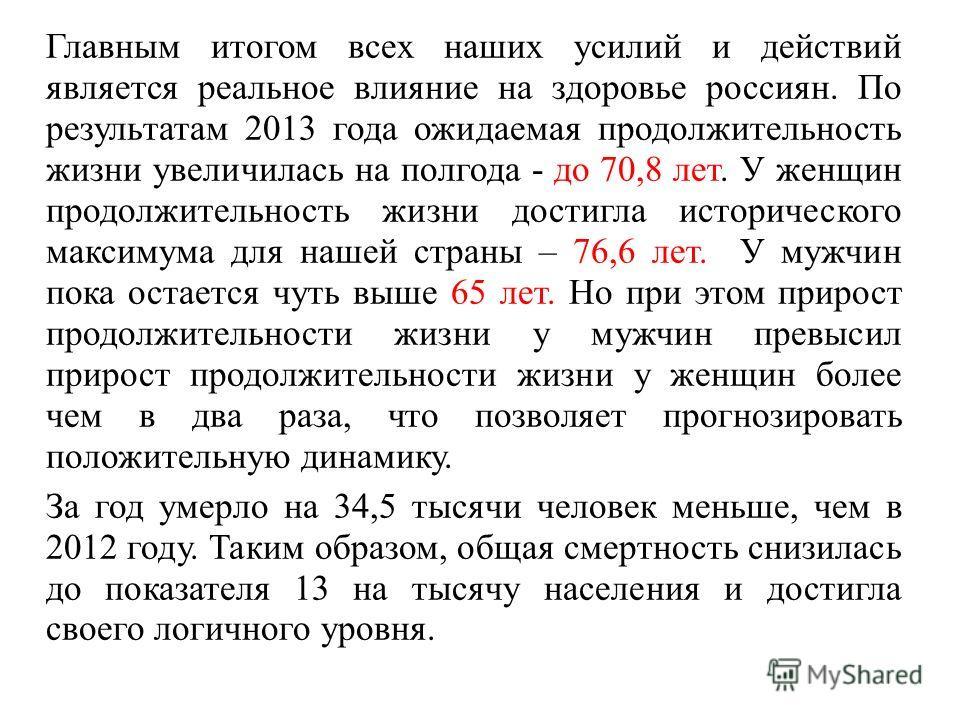 Главным итогом всех наших усилий и действий является реальное влияние на здоровье россиян. По результатам 2013 года ожидаемая продолжительность жизни увеличилась на полгода - до 70,8 лет. У женщин продолжительность жизни достигла исторического максим