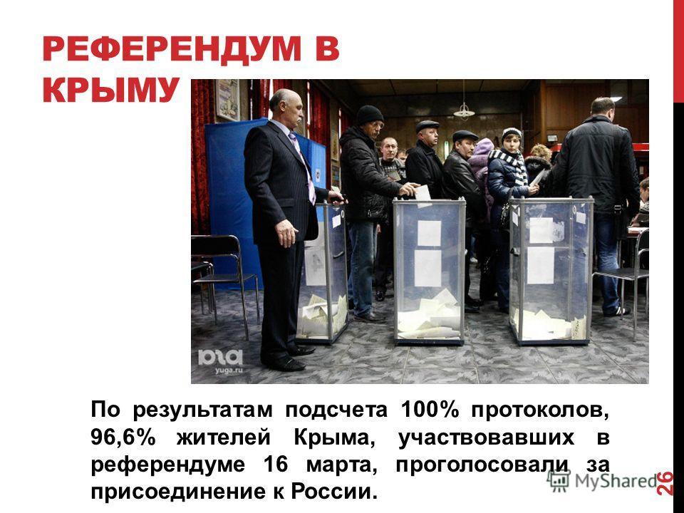 РЕФЕРЕНДУМ В КРЫМУ 26 По результатам подсчета 100% протоколов, 96,6% жителей Крыма, участвовавших в референдуме 16 марта, проголосовали за присоединение к России.