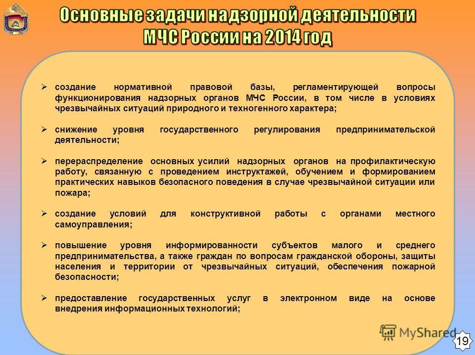 создание нормативной правовой базы, регламентирующей вопросы функционирования надзорных органов МЧС России, в том числе в условиях чрезвычайных ситуаций природного и техногенного характера; снижение уровня государственного регулирования предпринимате