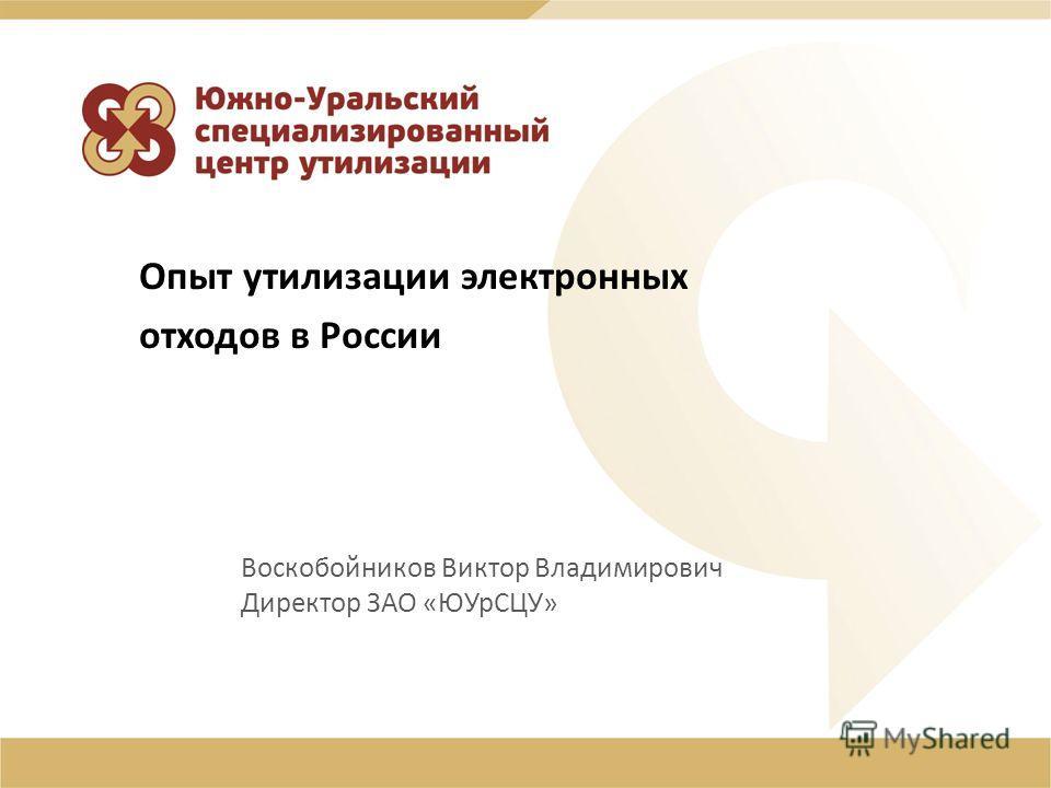 Воскобойников Виктор Владимирович Директор ЗАО «ЮУрСЦУ» Опыт утилизации электронных отходов в России
