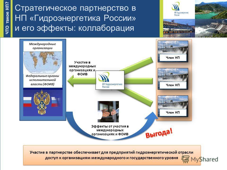 Стратегическое партнерство в НП «Гидроэнергетика России» и его эффекты: коллаборация Член НП Участие в партнерстве обеспечивает для предприятий гидроэнергетической отрасли доступ к организациям международного и государственного уровня Федеральные орг