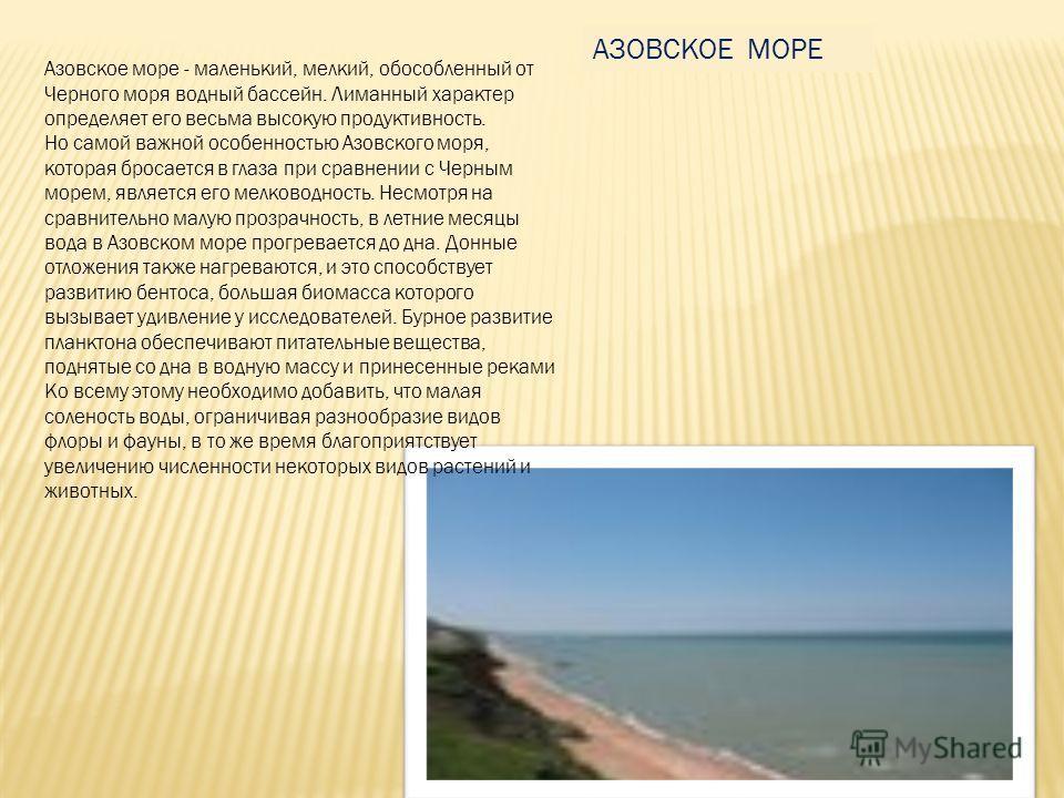 Азовское море - маленький, мелкий, обособленный от Черного моря водный бассейн. Лиманный характер определяет его весьма высокую продуктивность. Но самой важной особенностью Азовского моря, которая бросается в глаза при сравнении с Черным морем, являе