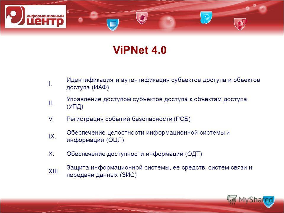ViPNet 4.0 I. Идентификация и аутентификация субъектов доступа и объектов доступа (ИАФ) II. Управление доступом субъектов доступа к объектам доступа (УПД) V.Регистрация событий безопасности (РСБ) IX. Обеспечение целостности информационной системы и и