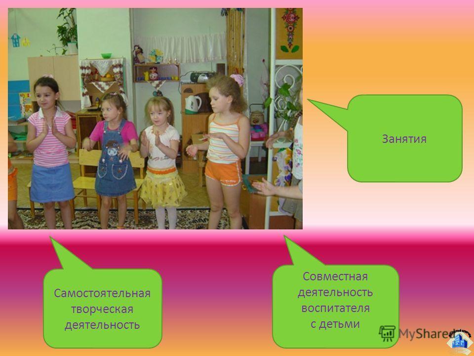 Занятия Совместная деятельность воспитателя с детьми Самостоятельная творческая деятельность