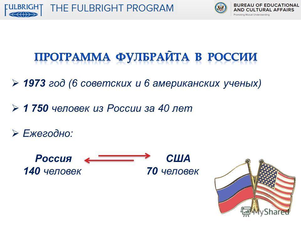 1973 год (6 советских и 6 американских ученых) 1 750 человек из России за 40 лет Ежегодно: Россия США 140 человек 70 человек