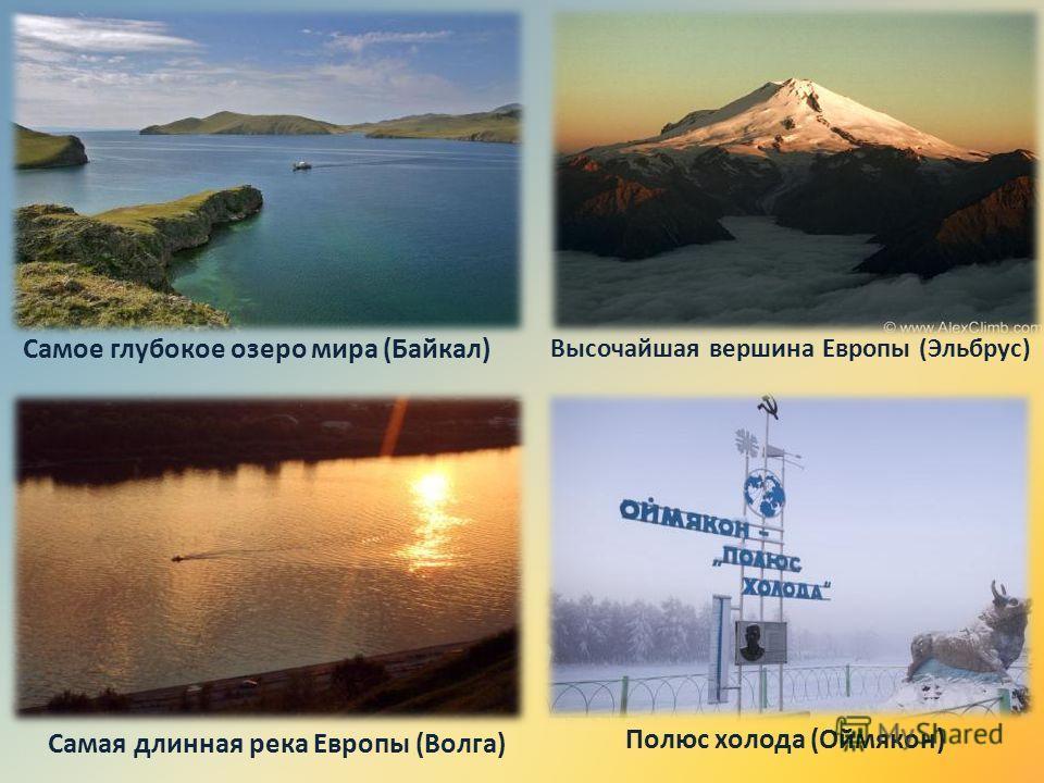 Самое глубокое озеро мира (Байкал) Высочайшая вершина Европы (Эльбрус) Самая длинная река Европы (Волга) Полюс холода (Оймякон)