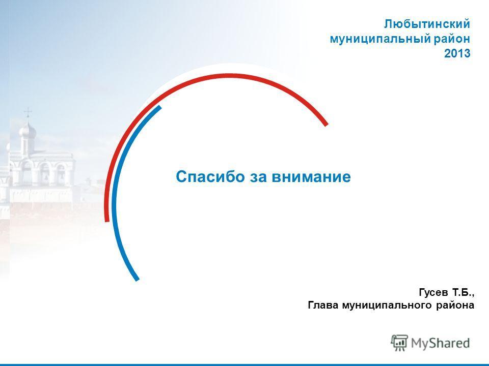 30 Спасибо за внимание Любытинский муниципальный район 2013 Гусев Т.Б., Глава муниципального района
