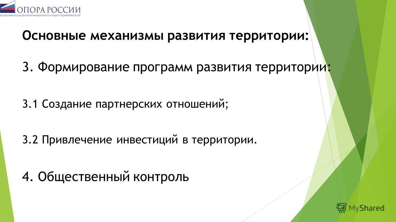Основные механизмы развития территории: 3. Формирование программ развития территории: 3.1 Создание партнерских отношений; 3.2 Привлечение инвестиций в территории. 4. Общественный контроль