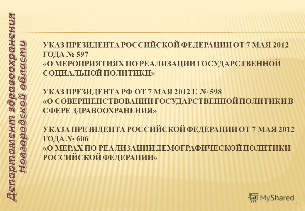 УКАЗ ПРЕЗИДЕНТА РОССИЙСКОЙ ФЕДЕРАЦИИ ОТ 7 МАЯ 2012 ГОДА 597 «О МЕРОПРИЯТИЯХ ПО РЕАЛИЗАЦИИ ГОСУДАРСТВЕННОЙ СОЦИАЛЬНОЙ ПОЛИТИКИ» УКАЗ ПРЕЗИДЕНТА РФ ОТ 7 МАЯ 2012 Г. 598 «О СОВЕРШЕНСТВОВАНИИ ГОСУДАРСТВЕННОЙ ПОЛИТИКИ В СФЕРЕ ЗДРАВООХРАНЕНИЯ» УКАЗА ПРЕЗИД
