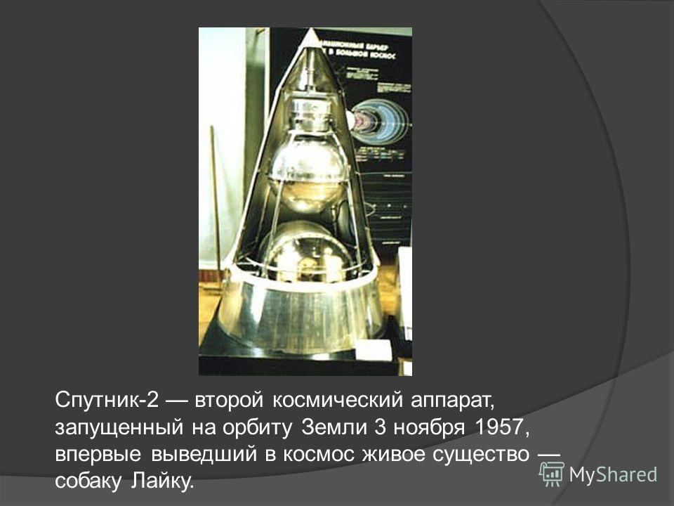Спутник-2 второй космический аппарат, запущенный на орбиту Земли 3 ноября 1957, впервые выведший в космос живое существо собаку Лайку.