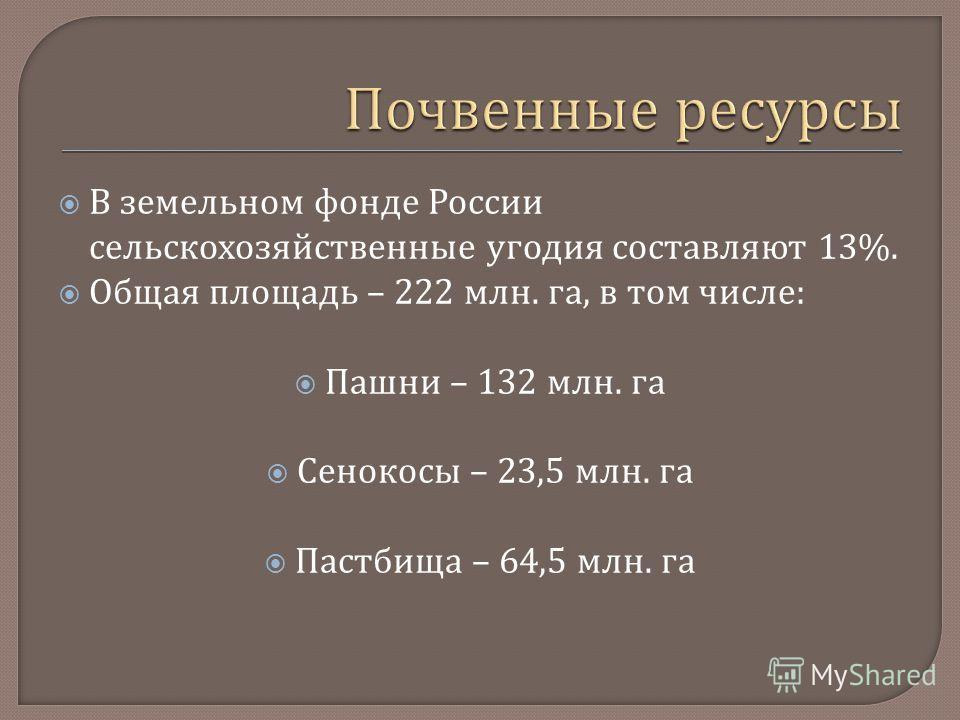 В земельном фонде России сельскохозяйственные угодия составляют 13%. Общая площадь – 222 млн. га, в том числе : Пашни – 132 млн. га Сенокосы – 23,5 млн. га Пастбища – 64,5 млн. га