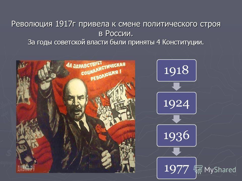 Революция 1917 г привела к смене политического строя в России. За годы советской власти были приняты 4 Конституции.