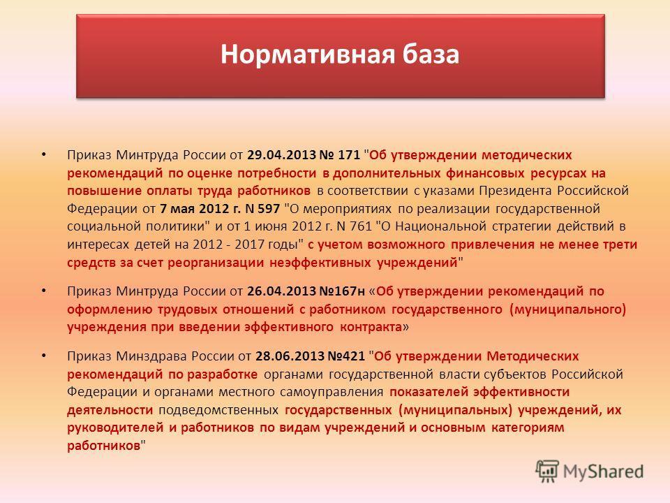 Нормативная база Приказ Минтруда России от 29.04.2013 171