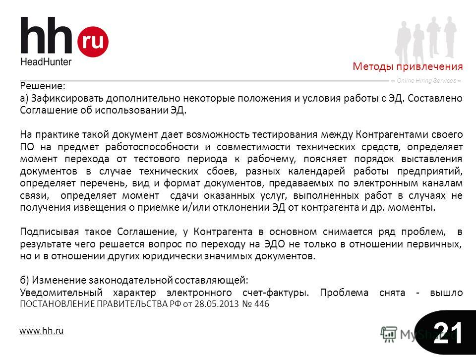 www.hh.ru Online Hiring Services 21 Решение: а) Зафиксировать дополнительно некоторые положения и условия работы с ЭД. Составлено Соглашение об использовании ЭД. На практике такой документ дает возможность тестирования между Контрагентами своего ПО н