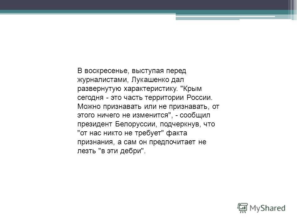 В воскресенье, выступая перед журналистами, Лукашенко дал развернутую характеристику.
