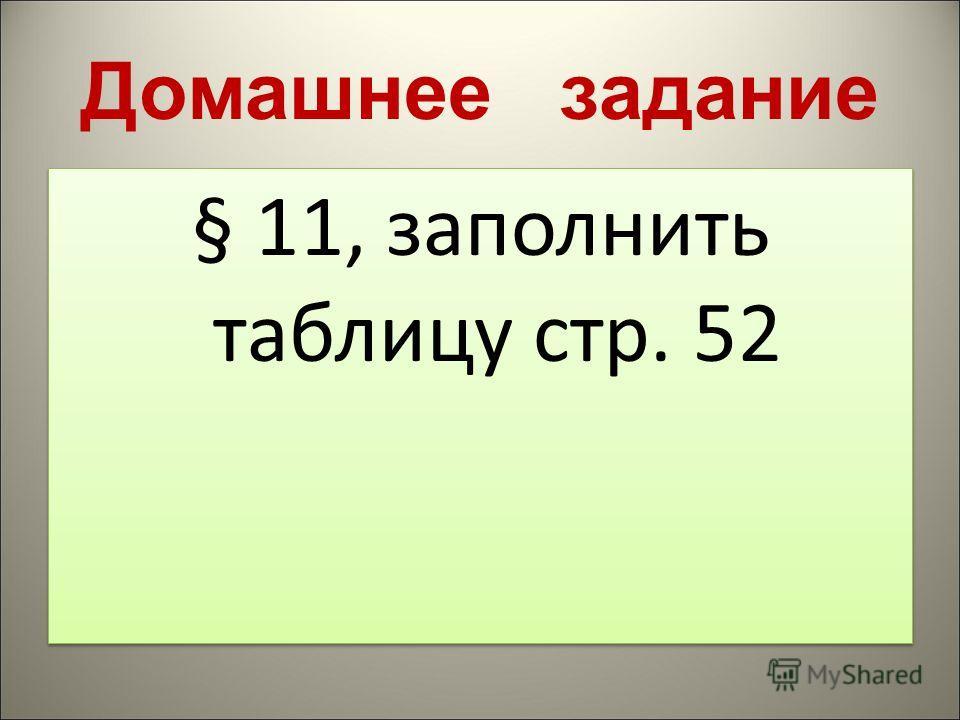 Домашнее задание § 11, заполнить таблицу стр. 52