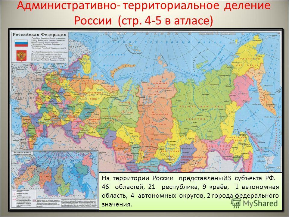 Административно- территориальное деление России (стр. 4-5 в атласе) На территории России представлены 83 субъекта РФ. 46 областей, 21 республика, 9 краёв, 1 автономная область, 4 автономных округов, 2 города федерального значения. На территории Росси