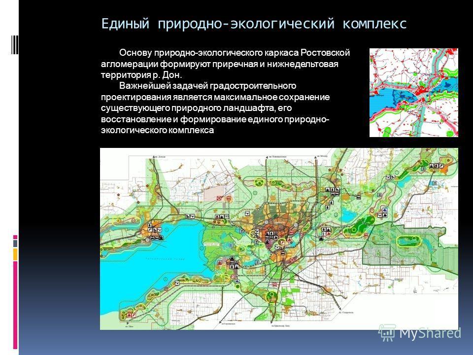 Единый природно-экологический комплекс Основу природно-экологического каркаса Ростовской агломерации формируют приречная и нижнедельтовая территория р. Дон. Важнейшей задачей градостроительного проектирования является максимальное сохранение существу