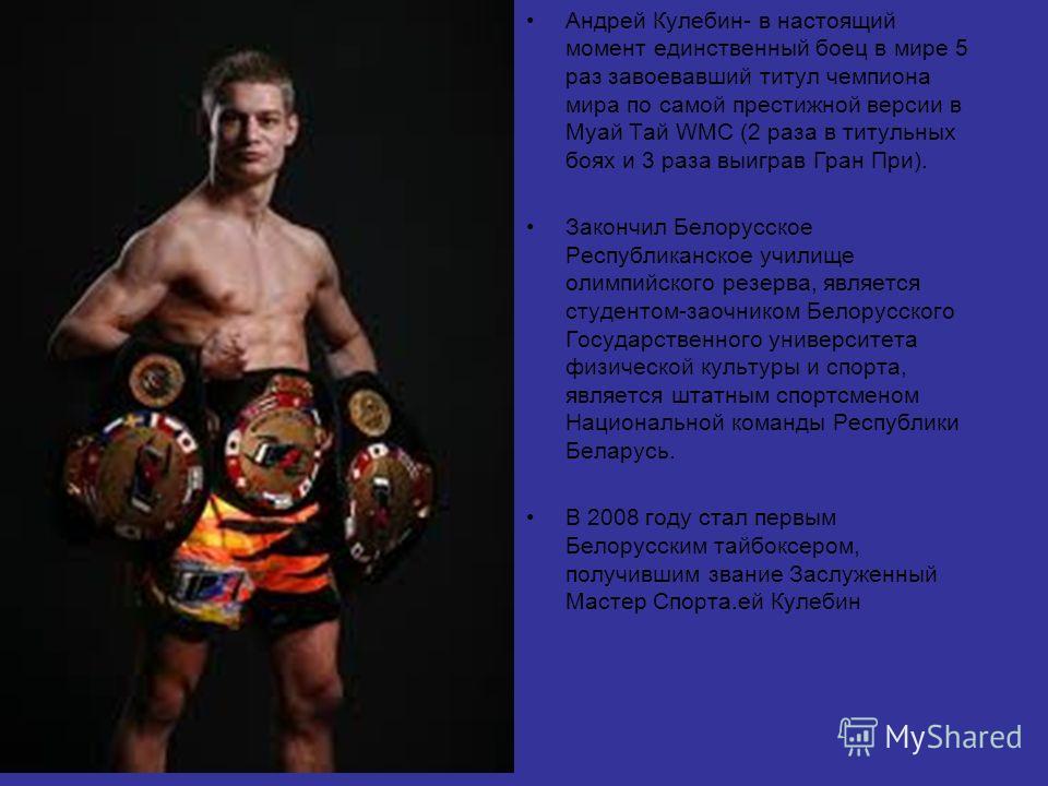 Андрей Кулебин- в настоящий момент единственный боец в мире 5 раз завоевавший титул чемпиона мира по самой престижной версии в Муай Тай WMC (2 раза в титульных боях и 3 раза выиграв Гран При). Закончил Белорусское Республиканское училище олимпийского