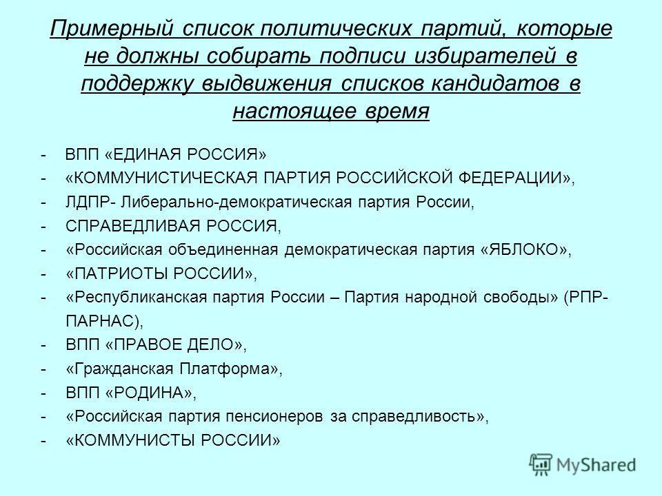 Примерный список политических партий, которые не должны собирать подписи избирателей в поддержку выдвижения списков кандидатов в настоящее время - ВПП «ЕДИНАЯ РОССИЯ» - «КОММУНИСТИЧЕСКАЯ ПАРТИЯ РОССИЙСКОЙ ФЕДЕРАЦИИ», -ЛДПР- Либерально-демократическая