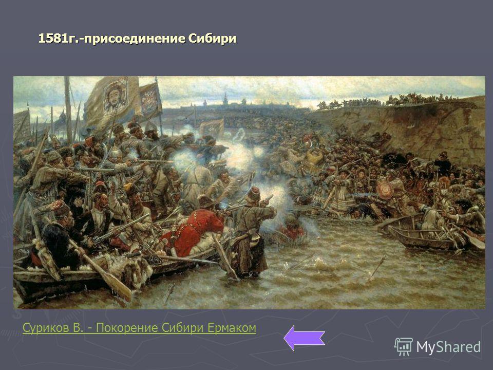 1581 г.-присоединение Сибири Суриков В. - Покорение Сибири Ермаком