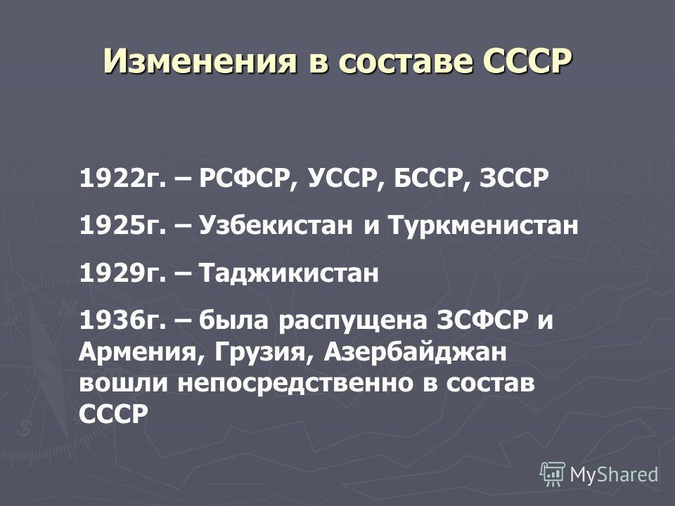 Изменения в составе СССР 1922 г. – РСФСР, УССР, БССР, ЗССР 1925 г. – Узбекистан и Туркменистан 1929 г. – Таджикистан 1936 г. – была распущена ЗСФСР и Армения, Грузия, Азербайджан вошли непосредственно в состав СССР