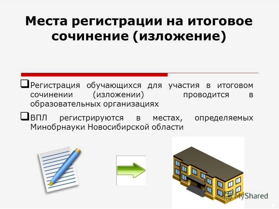 4 Регистрация обучающихся для участия в итоговом сочинении (изложении) проводится в образовательных организациях ВПЛ регистрируются в местах, определяемых Минобрнауки Новосибирской области Места регистрации на итоговое сочинение (изложение)