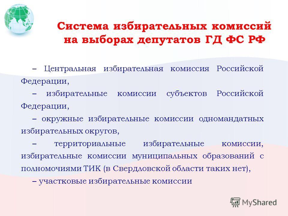 Система избирательных комиссий на выборах депутатов ГД ФС РФ – Центральная избирательная комиссия Российской Федерации, – избирательные комиссии субъектов Российской Федерации, – окружные избирательные комиссии одномандатных избирательных округов, –
