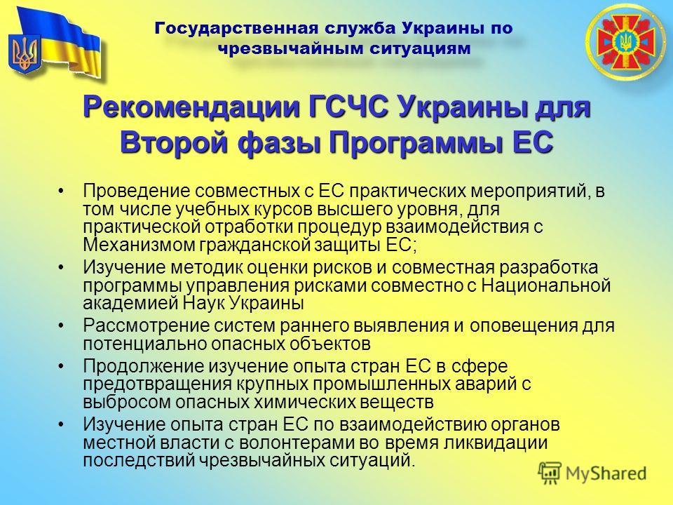Рекомендации ГСЧС Украины для Второй фазы Программы ЕС Проведение совместных с ЕС практических мероприятий, в том числе учебных курсов высшего уровня, для практической отработки процедур взаимодействия с Механизмом гражданской защиты ЕС; Изучение мет