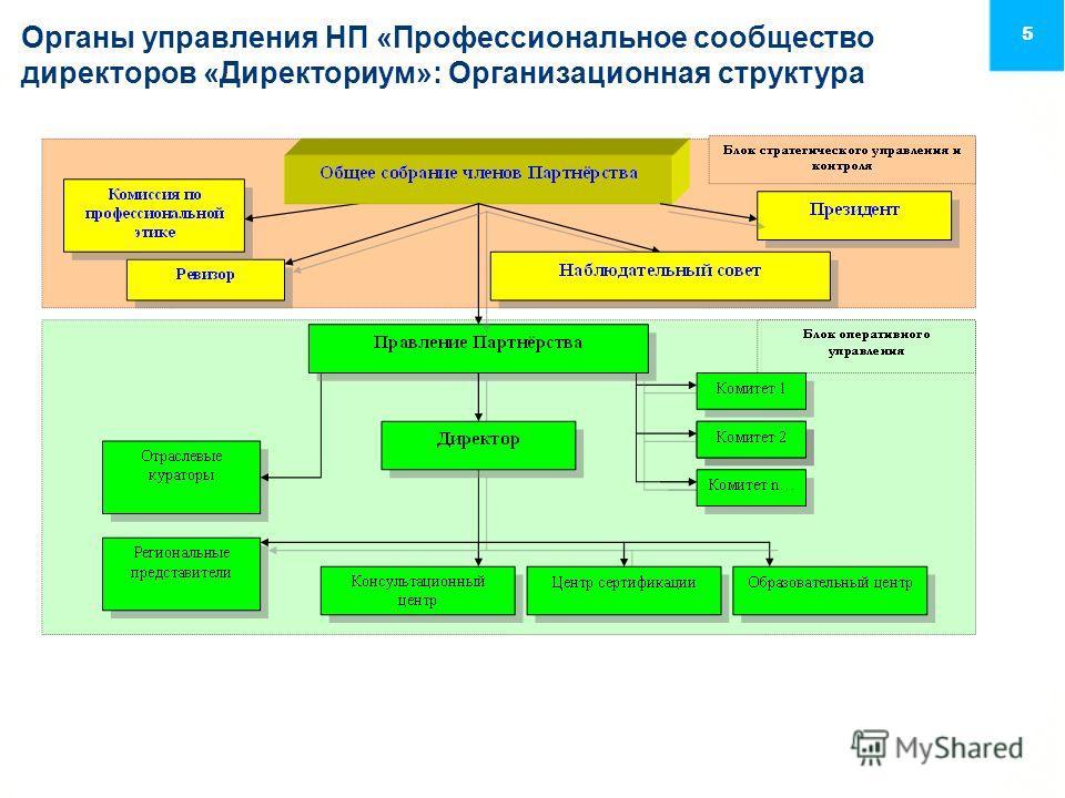 5 Органы управления НП «Профессиональное сообщество директоров «Директориум»: Организационная структура