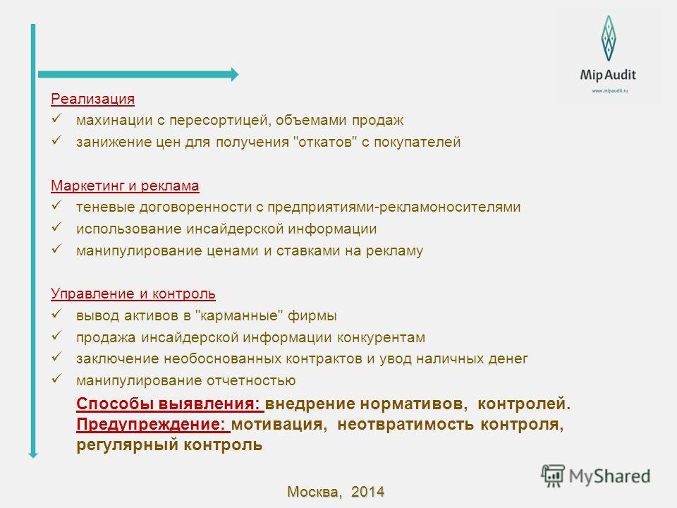 Москва, 2014 Реализация махинации с пересортицей, объемами продаж занижение цен для получения