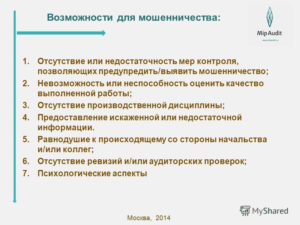 Москва, 2014 Возможности для мошенничества: 1. Отсутствие или недостаточность мер контроля, позволяющих предупредить/выявить мошенничество; 2. Невозможность или неспособность оценить качество выполненной работы; 3. Отсутствие производственной дисципл