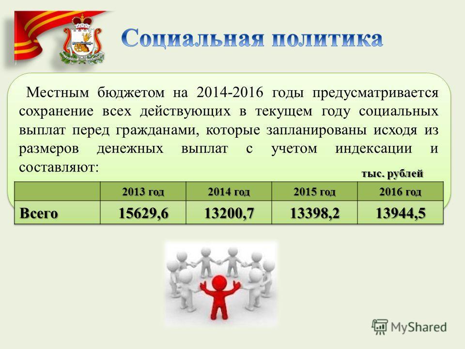 Местным бюджетом на 2014-2016 годы предусматривается сохранение всех действующих в текущем году социальных выплат перед гражданами, которые запланированы исходя из размеров денежных выплат с учетом индексации и составляют: тыс. рублей