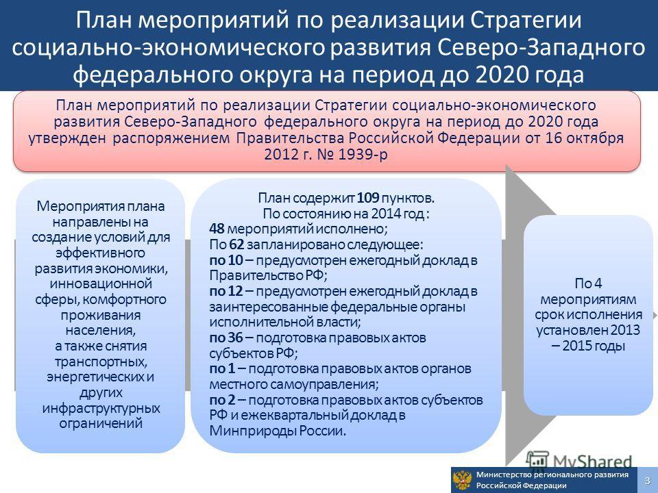 Министерство регионального развития Российской Федерации 3 План мероприятий по реализации Стратегии социально-экономического развития Северо-Западного федерального округа на период до 2020 года План мероприятий по реализации Стратегии социально-эконо
