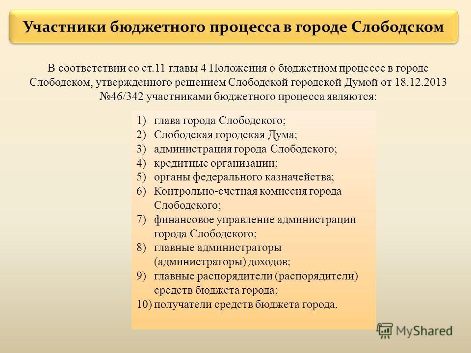 Участники бюджетного процесса в городе Слободском В соответствии со ст.11 главы 4 Положения о бюджетном процессе в городе Слободском, утвержденного решением Слободской городской Думой от 18.12.2013 46/342 участниками бюджетного процесса являются: 1)г