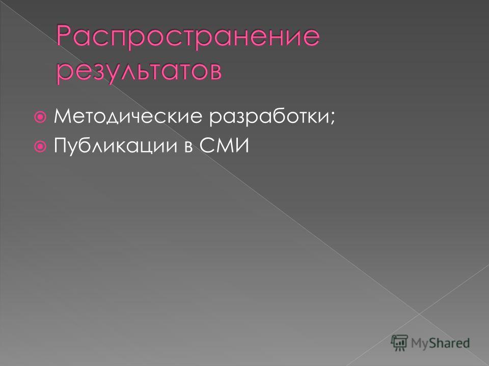 Методические разработки; Публикации в СМИ