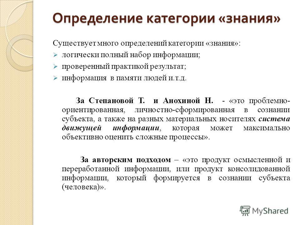 Определение категории « знания » Существует много определений категории «знания»: логически полный набор информации; проверенный практикой результат; информация в памяти людей и.т.д. За Степановой Т. и Анохиной Н. - «это проблемно- ориентированная, л