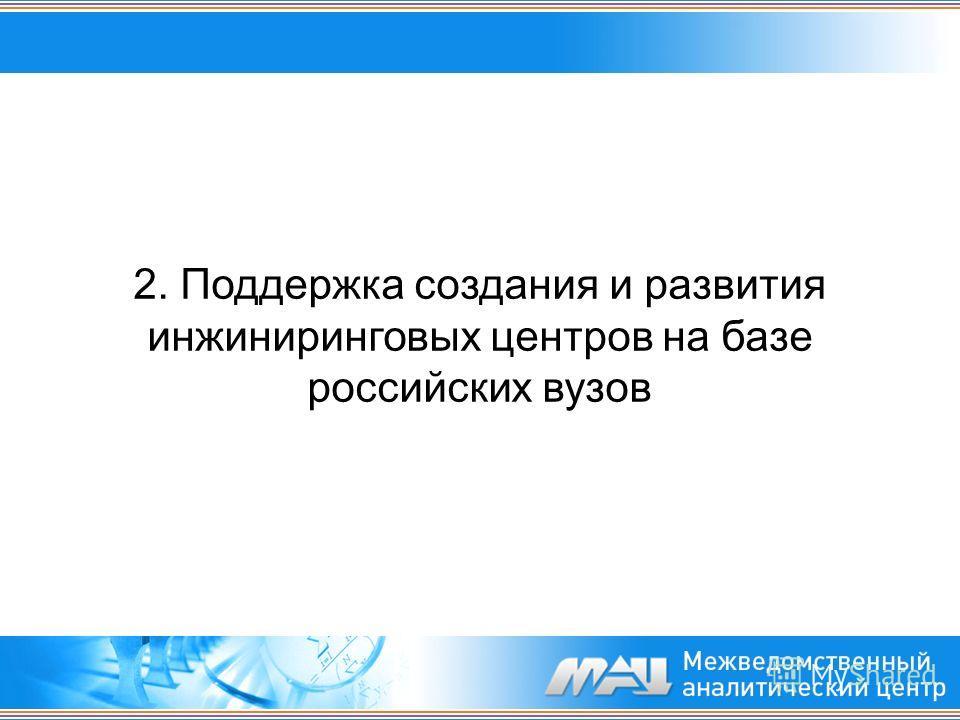 2. Поддержка создания и развития инжиниринговых центров на базе российских вузов