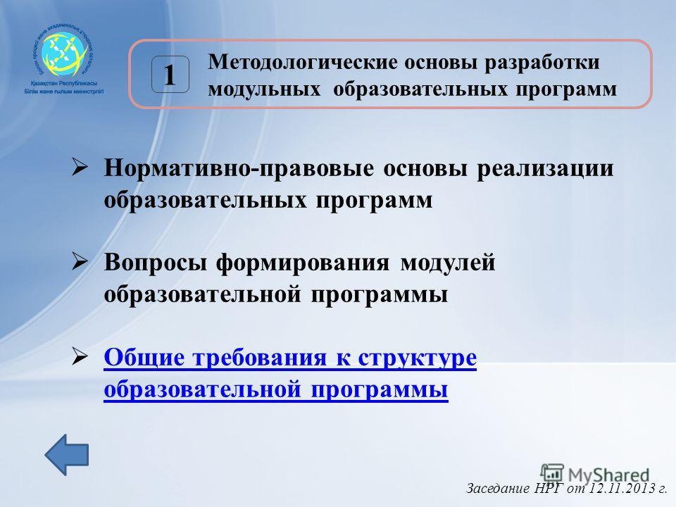 Заседание НРГ от 12.11.2013 г. 1 Методологические основы разработки модульных образовательных программ Нормативно-правовые основы реализации образовательных программ Вопросы формирования модулей образовательной программы Общие требования к структуре